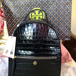 TORY BURCH Black Backpack Croc- Embossed Leather